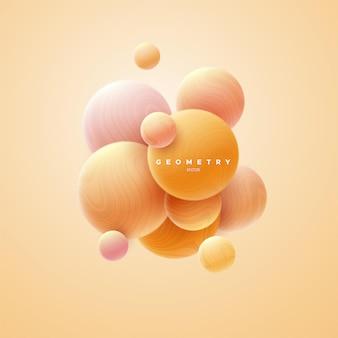 Abstrakter hintergrund mit orangefarbenen, fließenden kugeln, strukturiert mit gewelltem streifenmuster