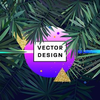 Abstrakter hintergrund mit palme blätter