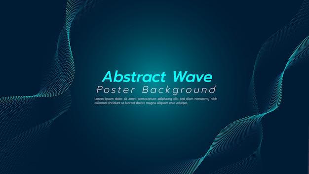 Abstrakter hintergrund mit partikelkurvenfluß. illustration über technologie- und innovationskonzept.
