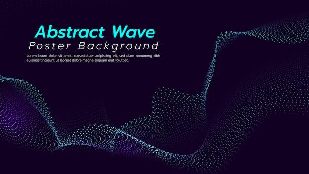 Abstrakter hintergrund mit partikelwelle. illustration über technologiekonzept.