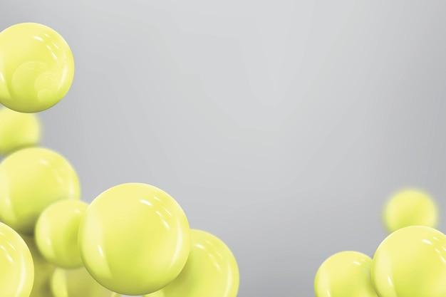 Abstrakter hintergrund mit realistischen gelben kugeln im flug. banner in trendigen farben.