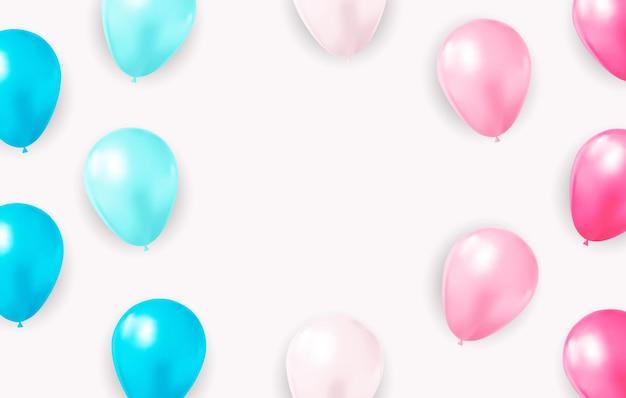 Abstrakter hintergrund mit realistischen luftballons konfetti