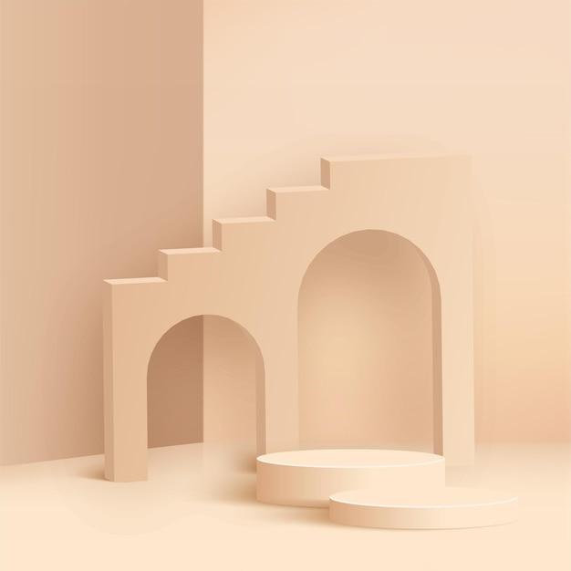 Abstrakter hintergrund mit rosa geometrischen 3d podien. illustration.