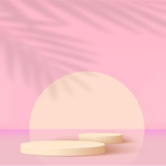 Abstrakter hintergrund mit rosa geometrischen 3d-podien
