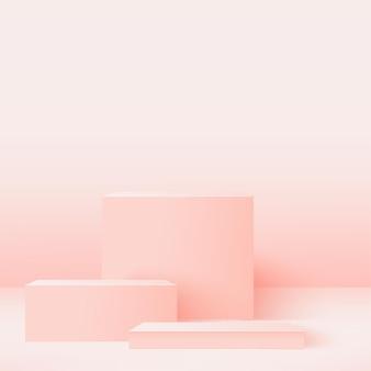 Abstrakter hintergrund mit rosa geometrischen podien. .