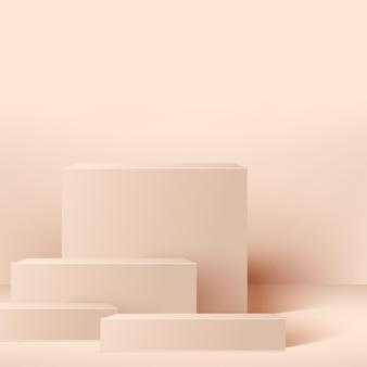 Abstrakter hintergrund mit rosa quadratischen geometrischen podien.