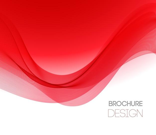 Abstrakter hintergrund mit roter glatter farbwelle. farbige wellenlinien