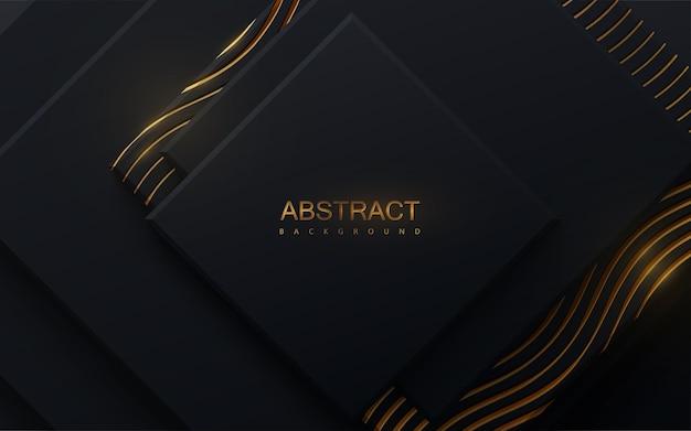 Abstrakter hintergrund mit schwarzen quadraten und schimmerndem goldenen wellenmuster