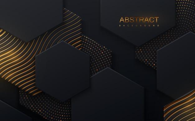 Abstrakter hintergrund mit schwarzen sechseckigen formen und schimmerndem goldenen wellenmuster