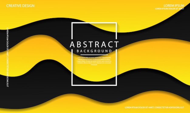 Abstrakter hintergrund mit schwarzen und gelben farbwellenformen. dynamische strukturierte flüssigkeit bunt