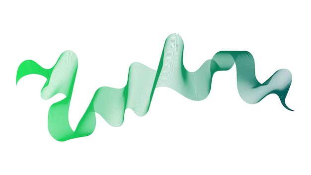 Abstrakter hintergrund mit steigungslinien der grünen welle auf weißem hintergrund. moderner technologiehintergrund, wellendesign. vektor-illustration