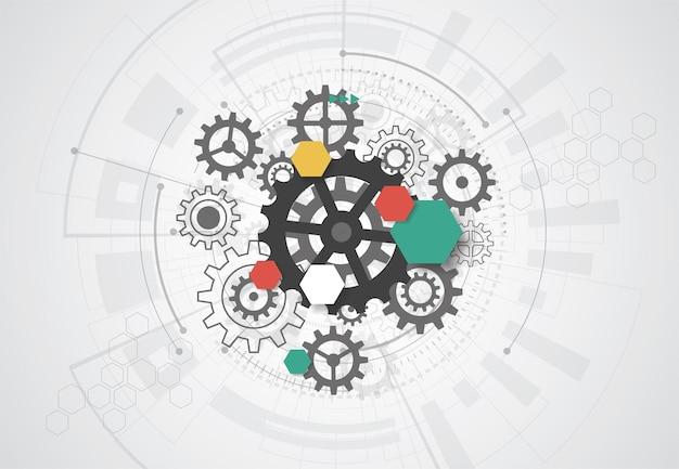 Abstrakter hintergrund mit technologieleiterplattenbeschaffenheit. abbildung der elektronischen hauptplatine. kommunikations- und engineering-konzept. vektor-illustration
