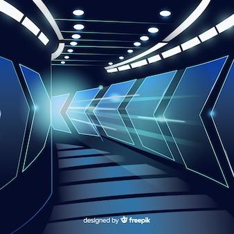 Abstrakter hintergrund mit technologischem hellem tunnel