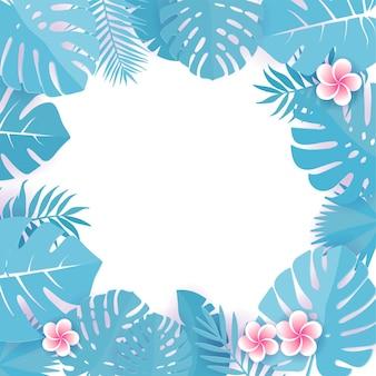 Abstrakter hintergrund mit tropischen blättern des blauen cyan. frangipani blumen. blumenkapernschnitt-designhintergrund.