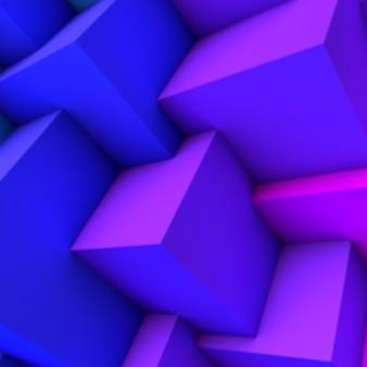 Abstrakter hintergrund mit überlappenden würfeln des blauen farbverlaufs