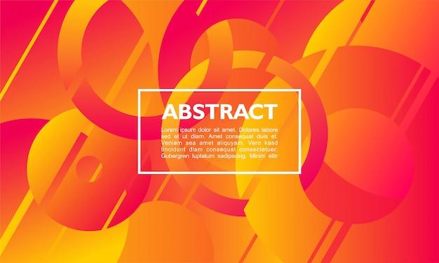 Abstrakter hintergrund mit überlappender kreis- und ringform auf orange farbe
