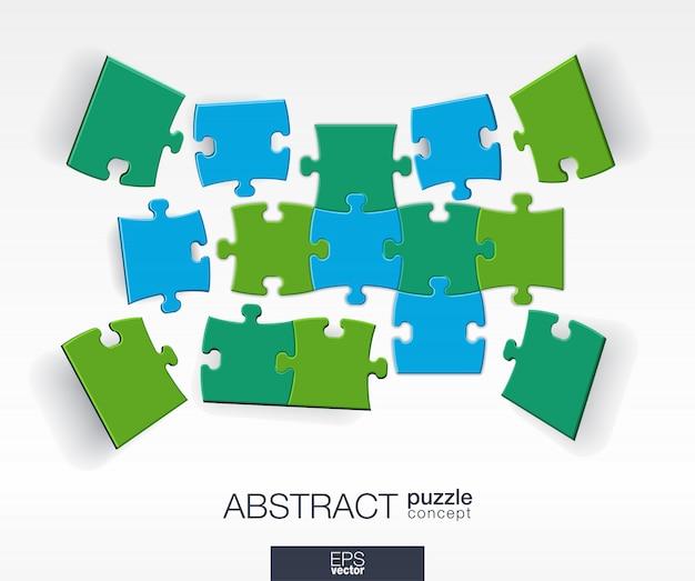 Abstrakter hintergrund mit verbundenen farbrätseln, integrierten elementen. infografik-konzept mit mosaikstücken in der perspektive. interaktive illustration.