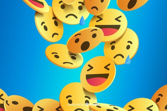 Abstrakter hintergrund mit verschiedenen emojis