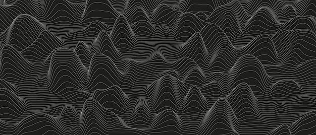 Abstrakter hintergrund mit verzerrten linienformen auf schwarzem hintergrund