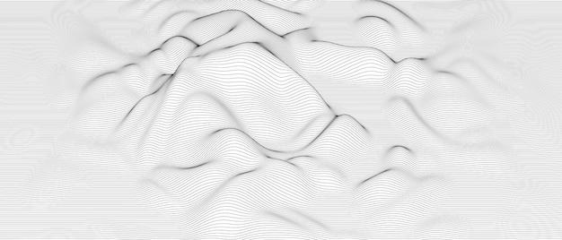 Abstrakter hintergrund mit verzerrten linienformen auf weiß
