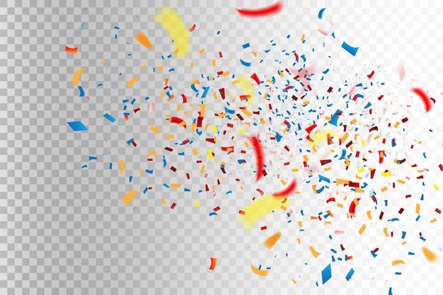 Abstrakter hintergrund mit vielen fallenden kleinen bunten konfettistücken für party und jubiläum. vektor-illustration