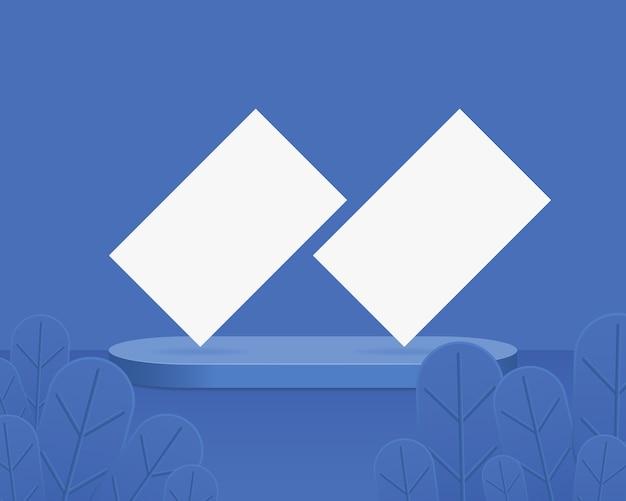 Abstrakter hintergrund mit visitenkarten auf geometrischen formen. design für die produktpräsentation.
