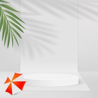 Abstrakter hintergrund mit weißem geometrischem 3d-podium, sonnenschirm und palmzweig palm