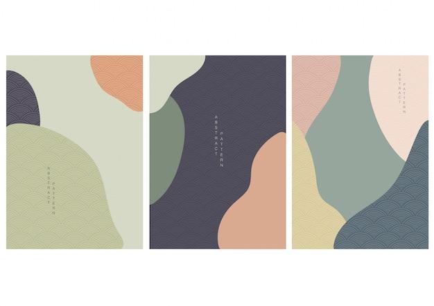 Abstrakter hintergrund mit wellenvektor des japanischen stils. kurvendesign