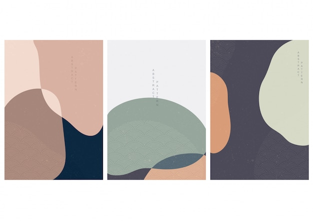 Abstrakter hintergrund mit wellenvektor des japanischen stils. kurvenformen
