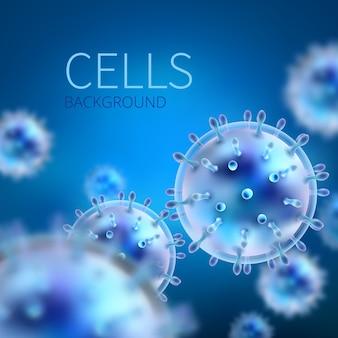 Abstrakter hintergrund mit zellen und viren. biologie medizin. viruszelle wissenschaftliche, medizinische molekültechnologie biotechnologie