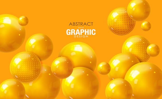 Abstrakter hintergrund, realistisches gelbes kugelentwurf, isolierte blase