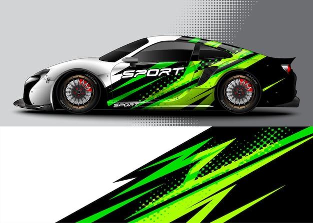 Abstrakter hintergrund-rennsportwagen für wrap-aufkleber-design und fahrzeuglackierung Premium Vektoren