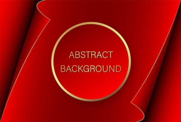 Abstrakter hintergrund. roter kreis mit einem goldenen strich auf dem hintergrund eines roten blattes papier mit gekrümmten kanten.