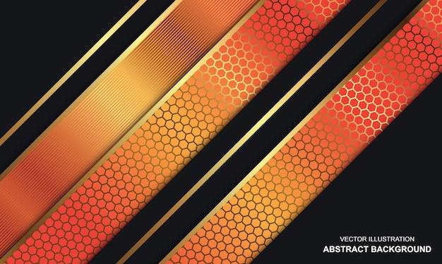Abstrakter hintergrund schwarz dop mit orange und goldenen linien modernes design