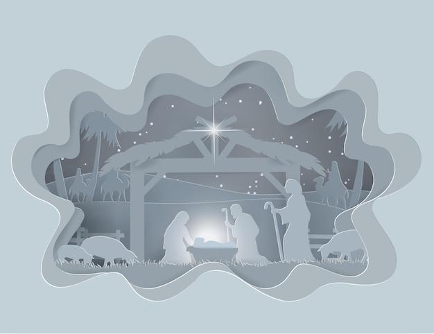 Abstrakter hintergrund traditionelle weihnachtskrippe des schätzchens jesus in der wintersaison