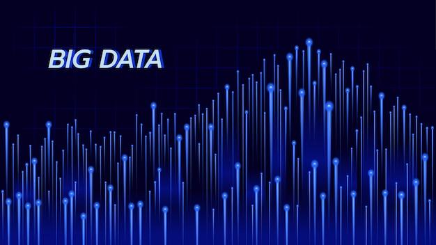 Abstrakter hintergrund über big data-technologie im blauen thema.