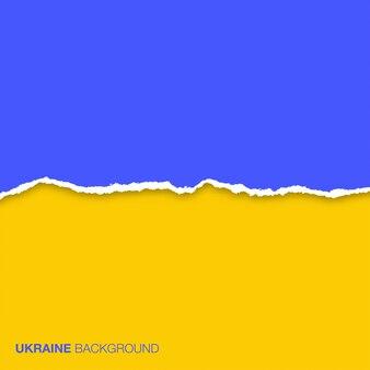 Abstrakter hintergrund unter verwendung der flaggenfarben der ukraine und des zerrissenen papiers.