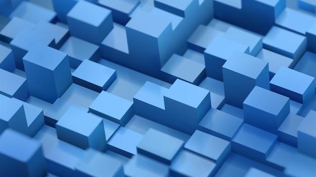 Abstrakter hintergrund von defokussierten würfeln und parallelepipeds in blauen farben mit schatten