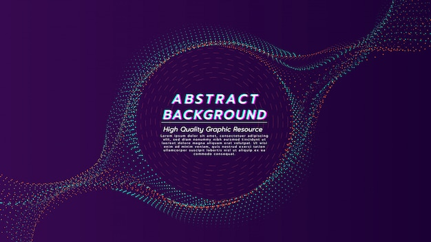 Abstrakter hintergrund von den partikeln fließen in farbe mit 2 tönen mit textraum in der kreisform.