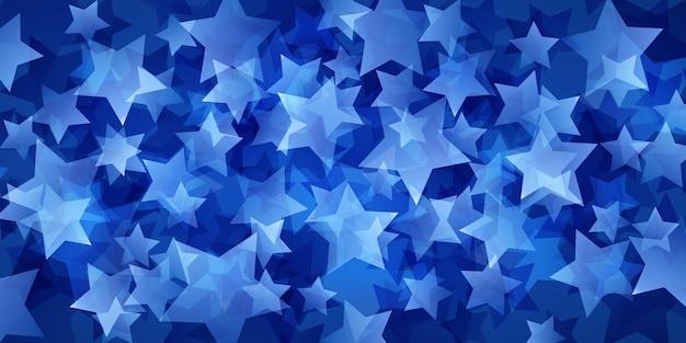 Abstrakter hintergrund von durchscheinenden sternen in blauen farben