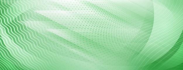 Abstrakter hintergrund von geraden und wellenförmigen schnittlinien in grünen farben