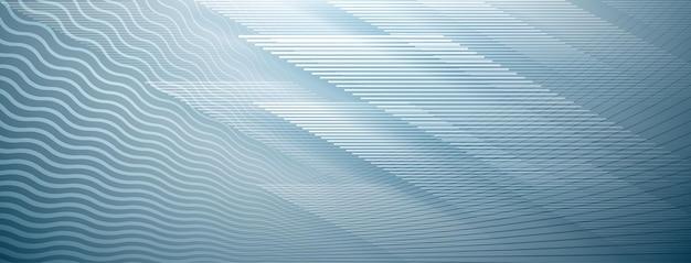 Abstrakter hintergrund von geraden und wellenförmigen schnittlinien in hellblauen farben blue