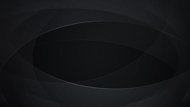 Abstrakter hintergrund von geschwungenen linien in schwarzen farben