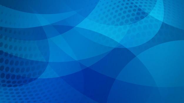 Abstrakter hintergrund von geschwungenen linien, kurven und halbtonpunkten in blauen farben