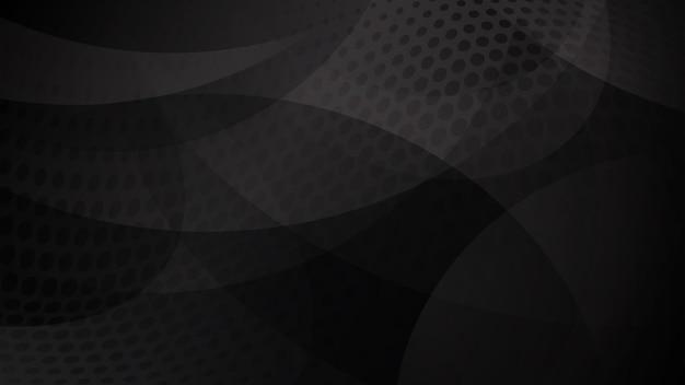 Abstrakter hintergrund von geschwungenen linien, kurven und halbtonpunkten in schwarzen und grauen farben
