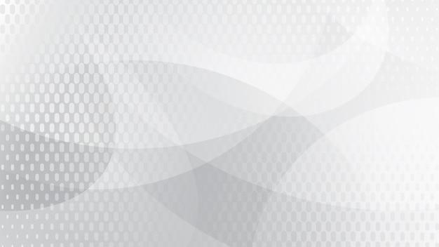 Abstrakter hintergrund von geschwungenen linien, kurven und halbtonpunkten in weißen und grauen farben