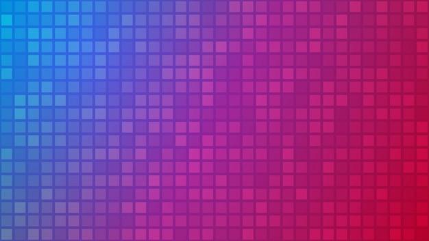 Abstrakter hintergrund von kleinen quadraten oder pixeln in den farben blau, rosa und lila.