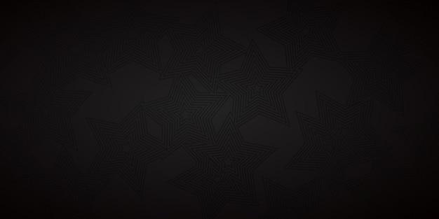 Abstrakter hintergrund von konzentrischen sternen in schwarzen farben