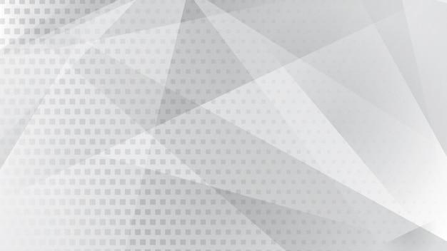Abstrakter hintergrund von linien, polygonen und halbtonpunkten in weißen und grauen farben