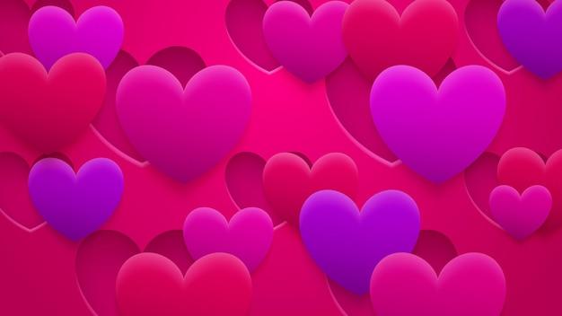 Abstrakter hintergrund von löchern und herzen mit schatten in den farben rot, rosa und lila